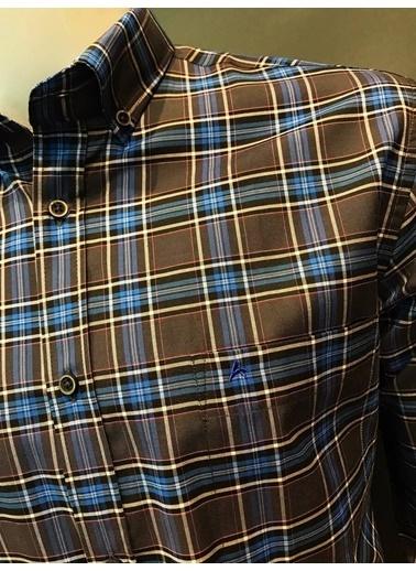 Abbate Kolay Ütülenır,Ekose Regular Fıt Gömlek Mavi